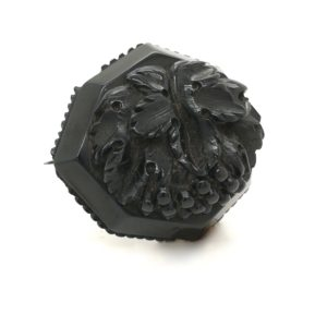 "Antique Victorian Whitby Jet carved brooch. Carved with grapes which represent ""Christ"""