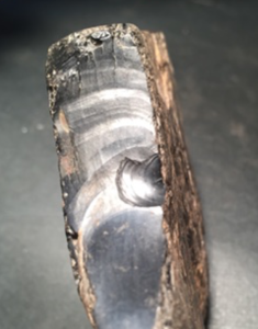 Sample of Whitby Jet showing a conchoidal fracture