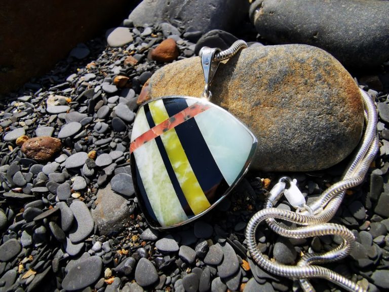 Large rounded Triangle Statement piece featuring Whitby Jet and British Marble mix