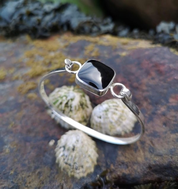 Whitby Jet Bangle in sterling silver