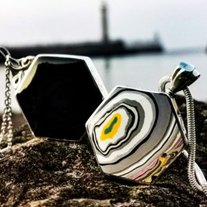 Fordite and Whitby Jet combination Pendant