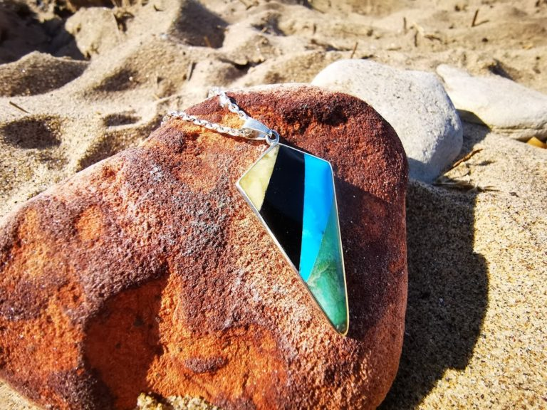 Whitby Jet ,Turquoise and Amber  kite  pendant
