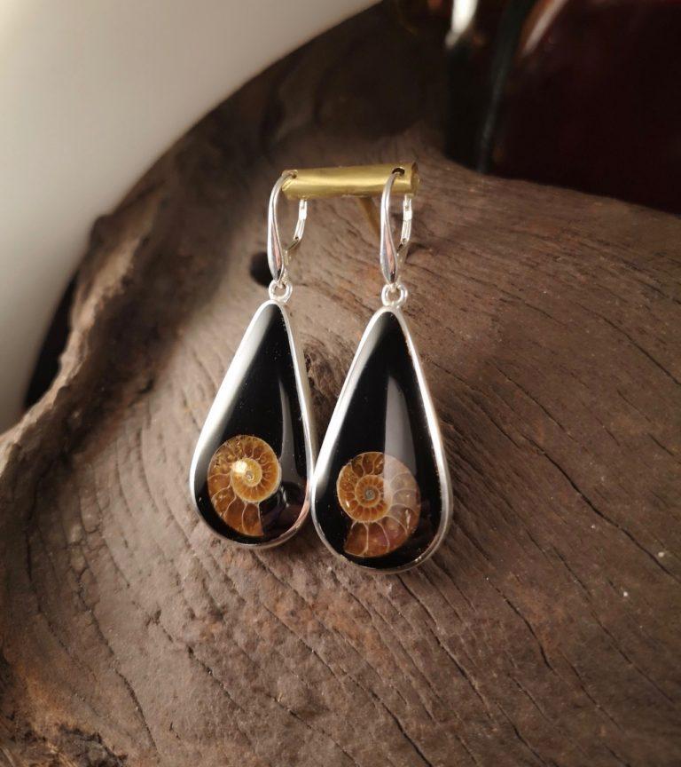 Ammonite Inlay Teardrop Earrings