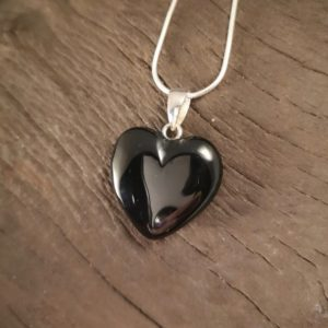 Whitby jet Puff Heart necklace
