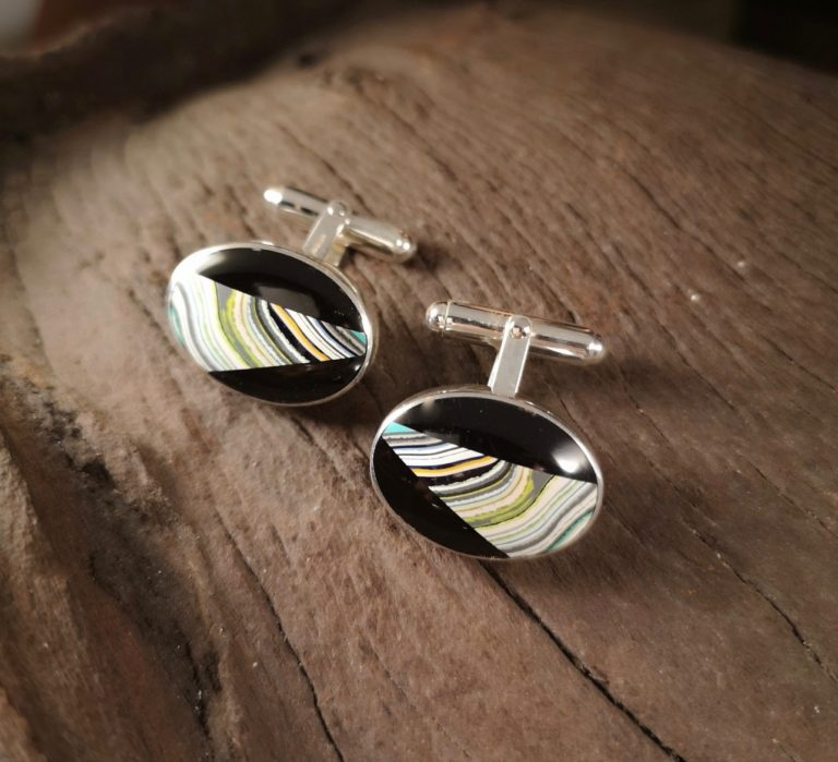 Oval Cufflink with Fordite and Whitby Jet