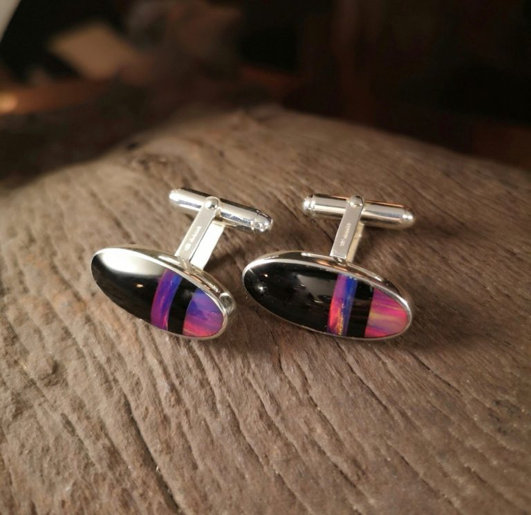 Whitby jet and Lab' grown Opal cufflinks