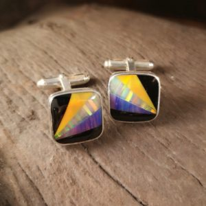 Large Square Cufflinks with Whitby Jet and Synthetic Opal