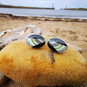 oval cufflink with Fordite