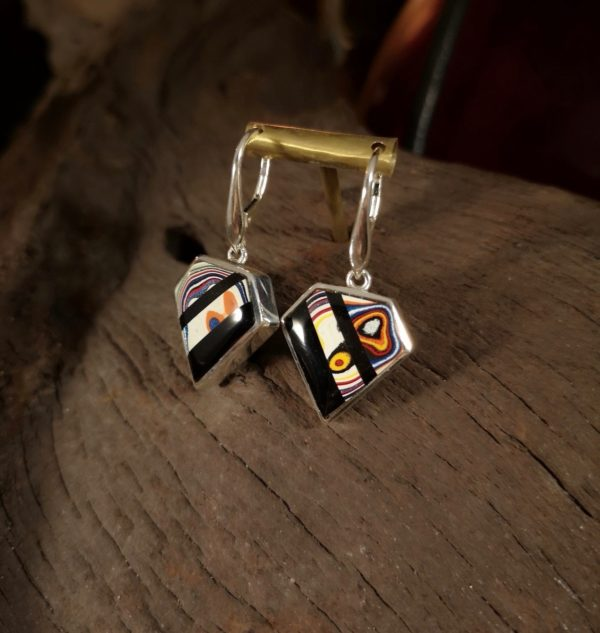 Fordite Earrings with Whitby Jet