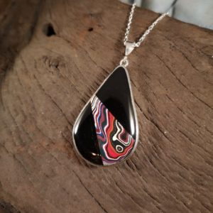Large Fordite and Whitby Jet pendant