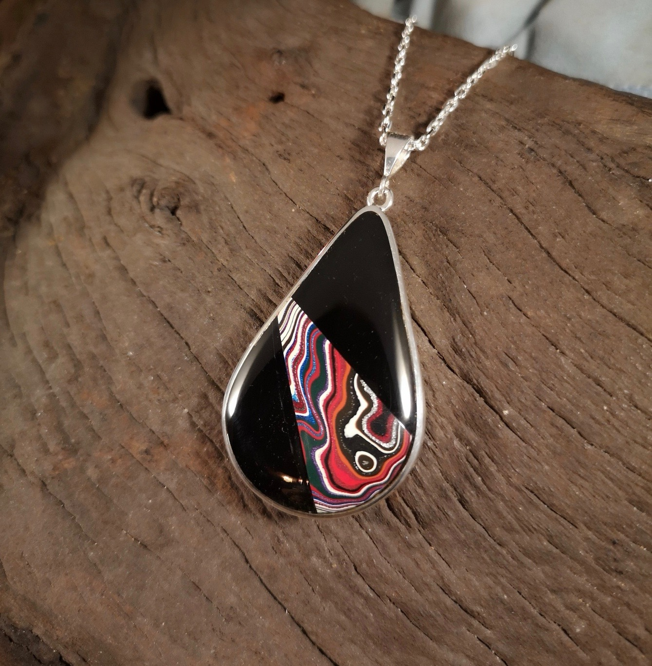 Fordite Pendant with Whitby jet
