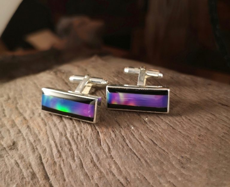 Bespoke rectangle cufflinks with Whitby jet and lab grown opal.