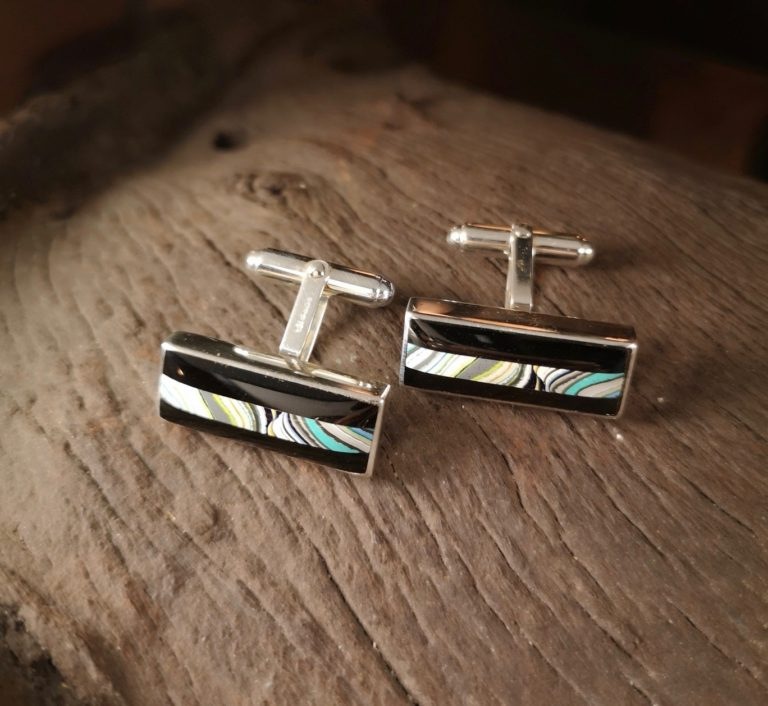 Fordite and Whitby Jet  Rectangle Cufflinks