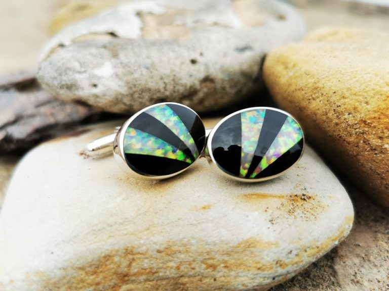 Large Oval Cufflinks with Whitby Jet and Synthetic Opal