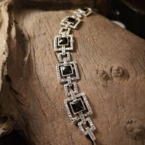 Marcasite and Whitby jet Bracelet, The Deco