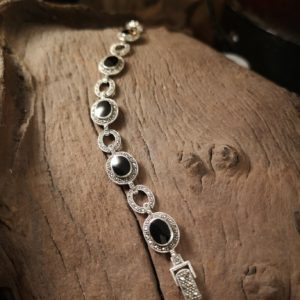 The Grosvenor Whitby jet and marcasite bracelet
