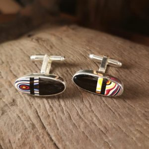 Whitby Jet and Fordite Cufflink