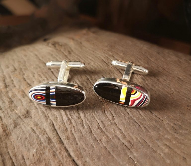 Fordite and Whitby jet cufflink  'The Shelby'
