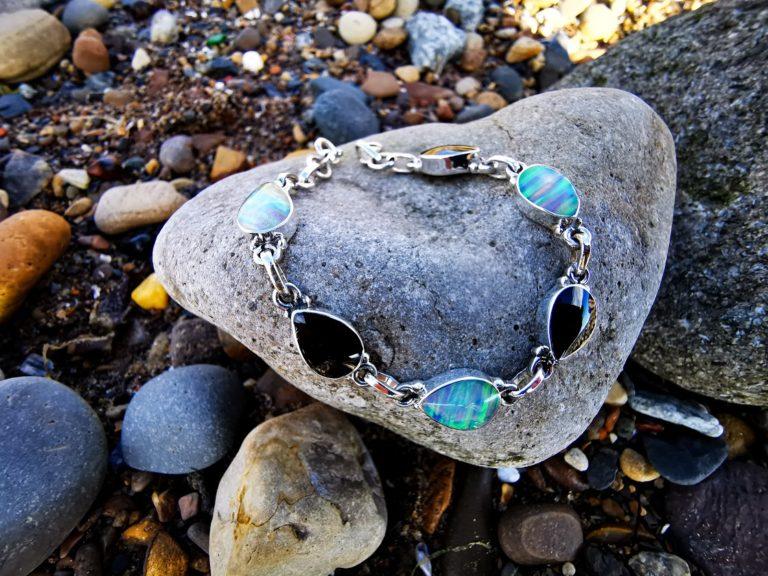Whitby Jet & Synthetic Opal classic teardrop bracelet