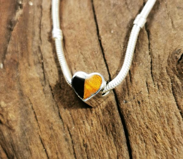 Whitby Jet and Amber Heart Charm