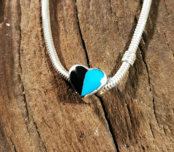Whitby Jet and Turquoise Heart Charm