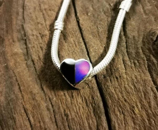 Whitby Jet and Opal Heart Charm