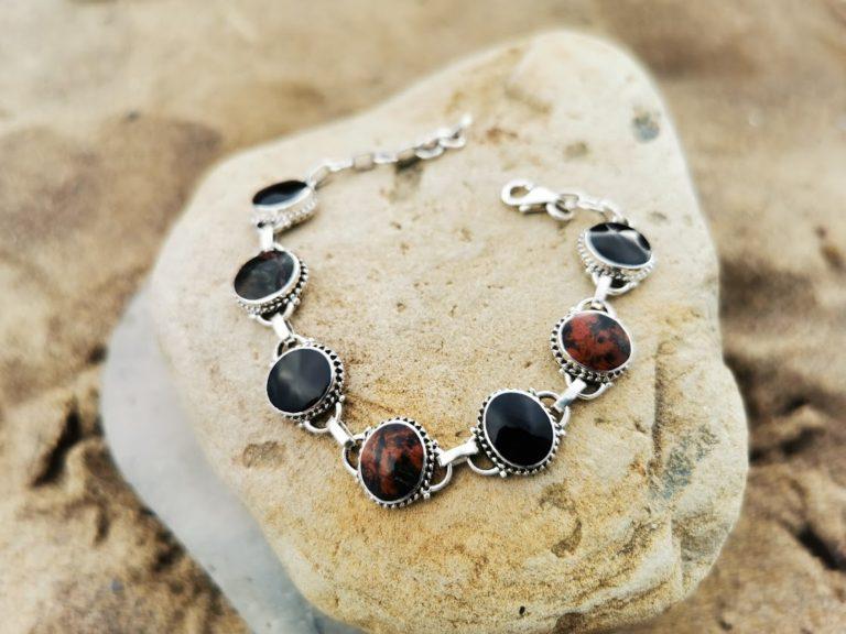 Whitby Jet & Cornish Serpentine Medium rope-edge bracelet