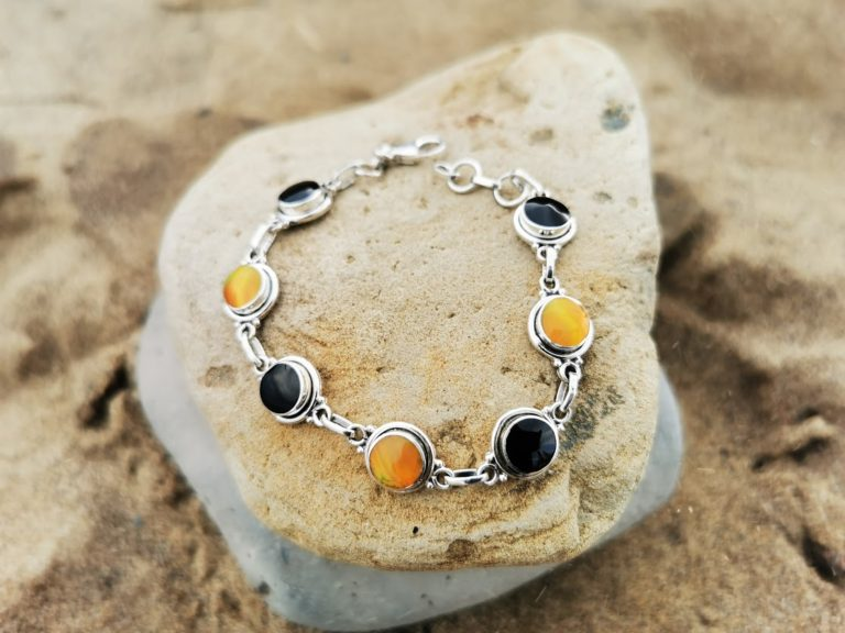 Whitby Jet & Burnt Orange Synthetic Opal plain round Bracelet