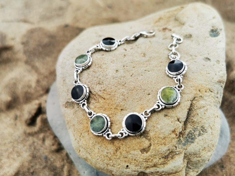 Whitby Jet & Connemara  Marble Modern classic round bracelet