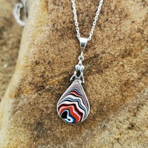 Tear drop Whitby Jet & Fordite double-sided