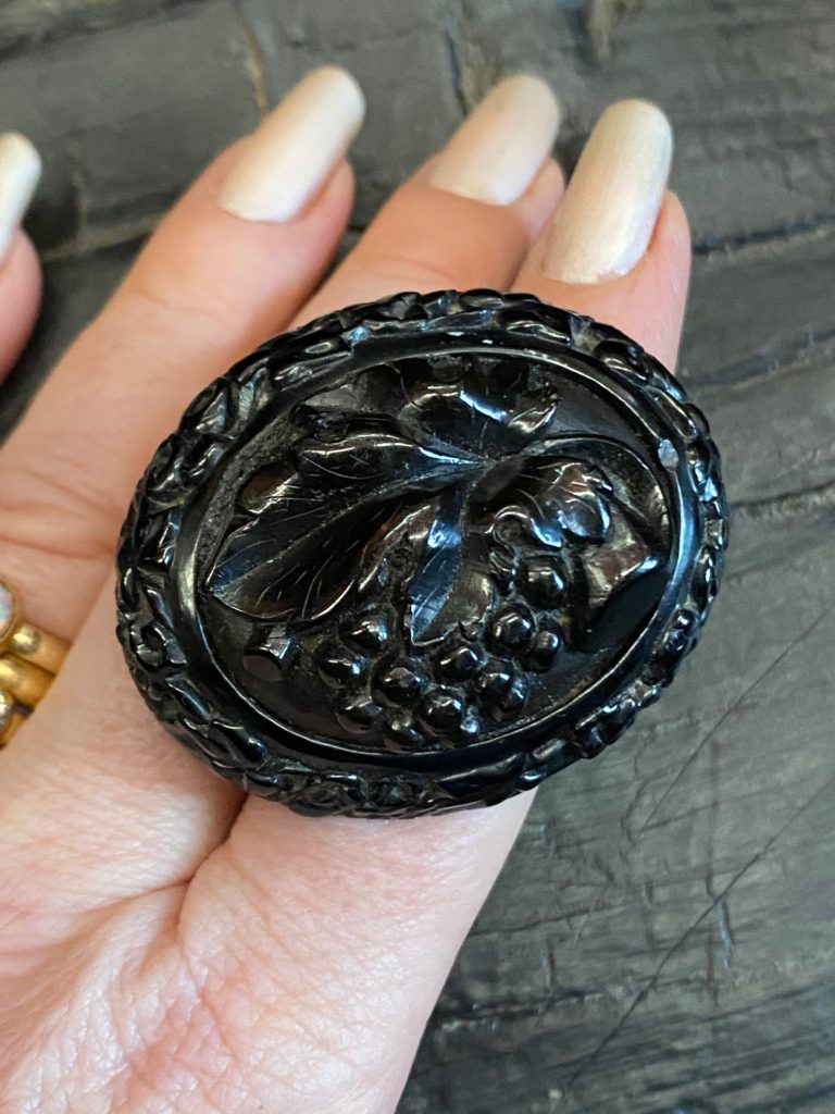"Antique Whitby Jet Brooch ""Grapevine"""