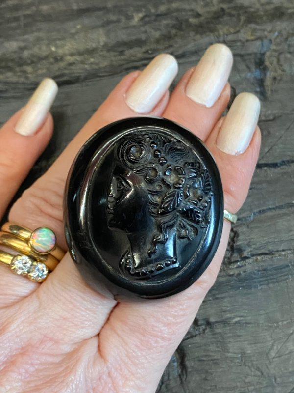 Antique Whitby Jet Cameo carved Brooch