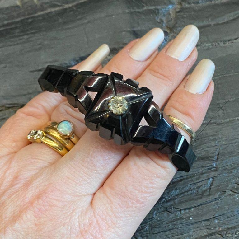 "Antique Whitby Jet Bracelet  ""The Beatrice"""