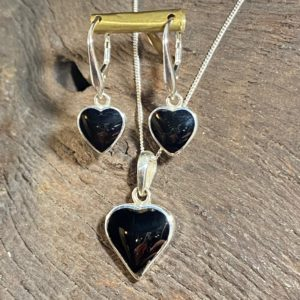 Whitby Jet Heart and Earrings Set