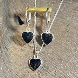 Whitby Jet heart pendant and earrings set